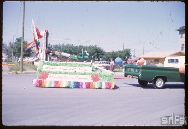 Gymkana Parade - Federated Co-op float.  Shaunavon.  07/18/1967