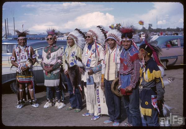 Shaunavon Jubilee Parade - Assiniboine Indian Dancers from Harlem, Montana.  Shaunavon.  07/18/1963