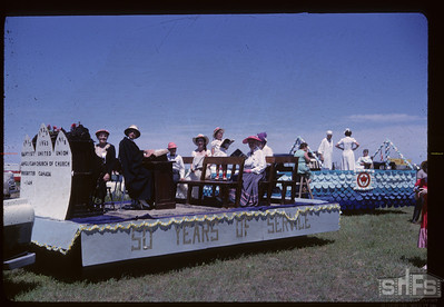Aneroid's Jubilee parade - United Church Float. Aneroid. 07/06/1963