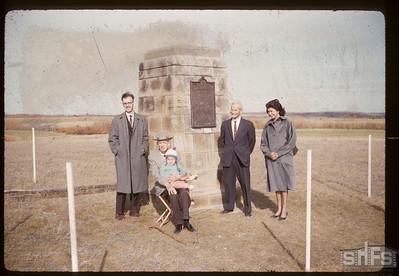 Senator Gladstone - Hugh Dempsey and Campbell Innes at Cut Knife monument. Battleford. 10/02/1960
