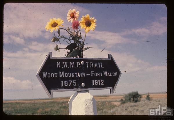 NWMP Trail marker - Wood River Crossing. McCord. 07/23/1962