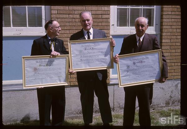 Eastend Teachers Association honour Corky Jones & Everett Baker and George Shepherd. Eastend. 05/25/1964