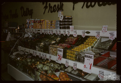 Produce stand on official opening. Birsay. 02/01/1966
