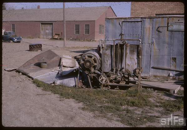 Back of Jim Burnville's cleaning plant.  Shaunavon.  10/28/1964