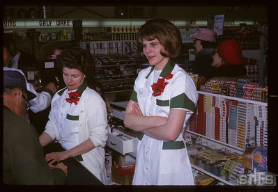 Check-out counter at official opening. Birsay. 02/01/1966