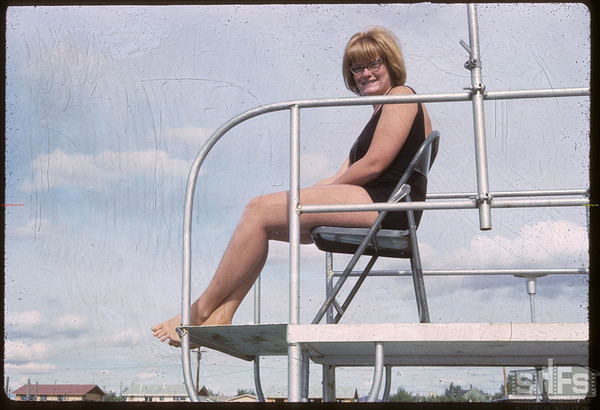 Shaunavon's new swimming pool - Diane Halderman pool life guard.  Shaunavon.  09/02/1965