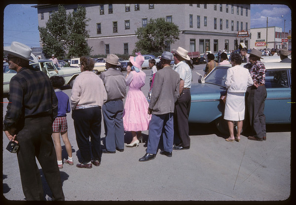 Shaunavon Jubilee Parade - crowd watching from 1st Ave and Centre Street. Shaunavon. 07/17/1963