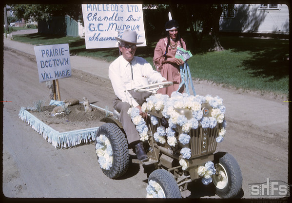 Rodeo Parade - Dixon Chandler and Prairie Dog Town.  Shaunavon.  07/20/1964