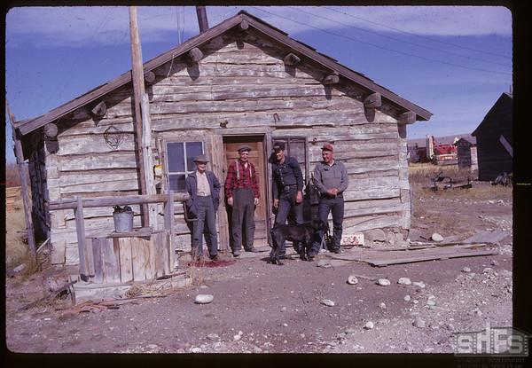 NWMP Marker crew - Alex McKelvey - Reddy Parsonage - Larry Wilson & Chester Mapstone. Merryflat PO. 10/04/1961
