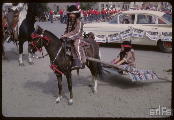 Shaunavon Jubilee Parade - Native pony with travois.  Shaunavon.  07/18/1963