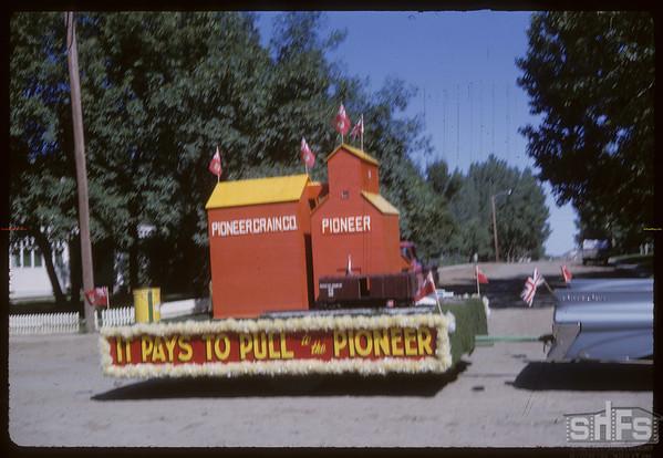 Rodeo Parade - Pioneer Elevator float.  Shaunavon.  07/20/1964