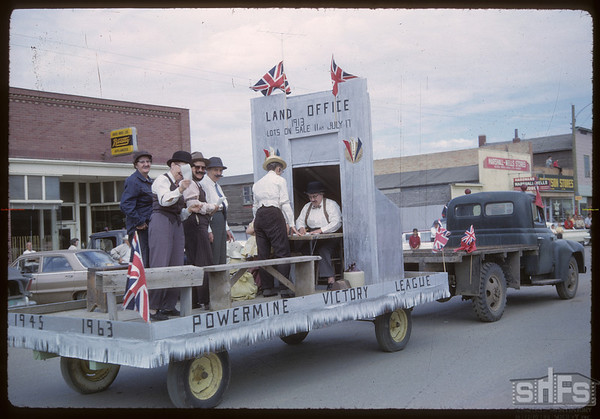 "Shaunavon Jubilee Parade - Powermine ""Land Office Filing"".  Shaunavon.  07/18/1963"