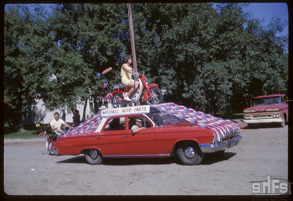 Rodeo Parade - Mitchell Auto Parts.  Shaunavon.  07/20/1964