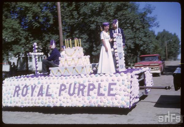 Rodeo Parade - Royal Purple float.  Shaunavon.  07/20/1964