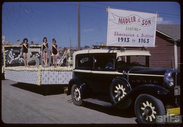 Shaunavon Jubilee Parade - Nadler & Son float.  Shaunavon.  07/17/1963