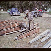 Howard Lacy and Alf Duke pouring concrete bases for NWMP Markers. Eastend. 07/17/1961