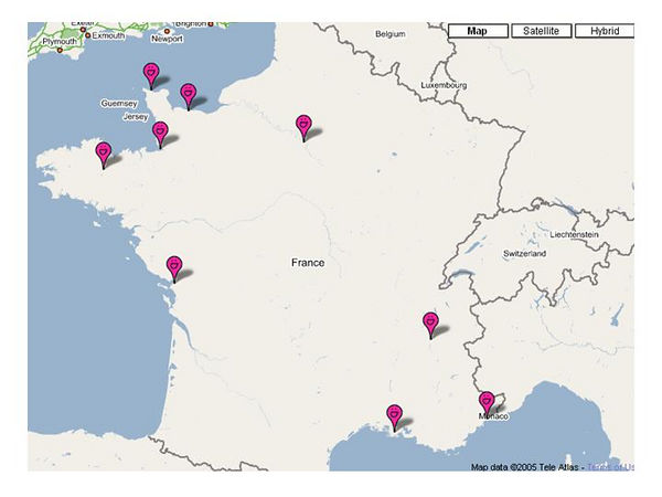 Places we visited in France.