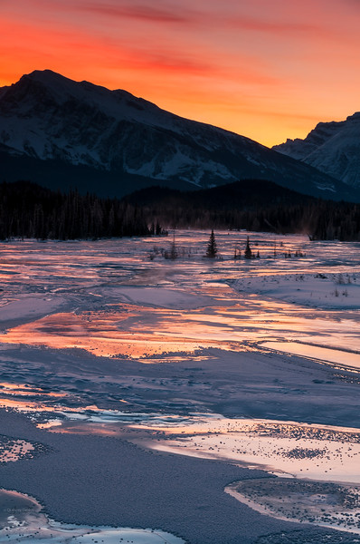 January 12, 2015<br /> <br /> Sunrise on the Athabasca River<br /> <br /> Jasper National Park, Alberta<br /> <br /> * For the month of January I will, once again, be posting images from my annual trips to Jasper in January.