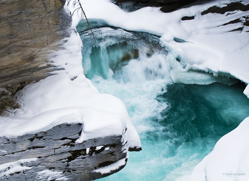 "February 1, 2011<br /> <br /> ""Tranquility""<br /> <br /> Athabasca Falls<br /> Jasper National Park, Alberta"