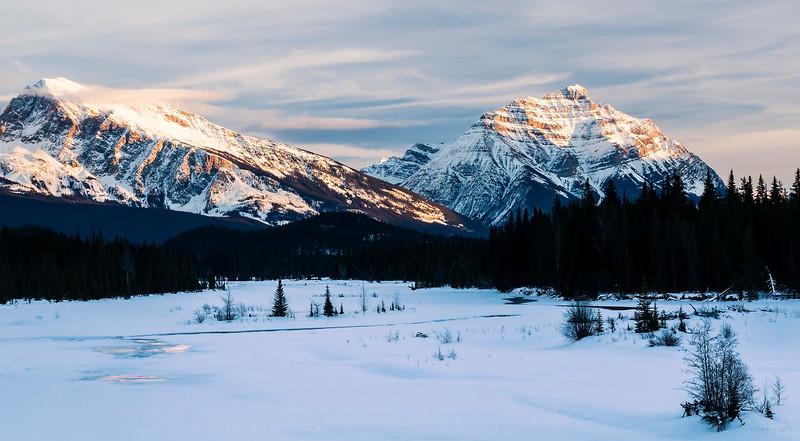 January 3, 2015<br /> <br /> Mountain Morning<br /> <br /> Athabasca River & Pyramid Mountain<br /> Jasper National Park, Alberta<br /> <br /> * For the month of January, I will once again be posting images from my annual trips to Jasper in January