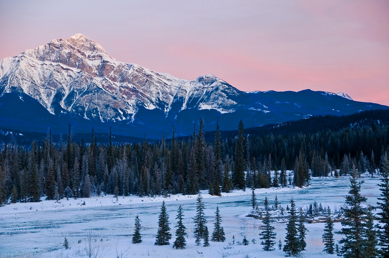 January 12, 2014<br /> <br /> Morning Glow<br /> <br /> Pyramid Mountain  Athabasca River<br /> Jasper National Park, Alberta<br /> <br /> * Jasper in January<br /> For the month of January, I will be editing images from my annual trips to Jasper in January.