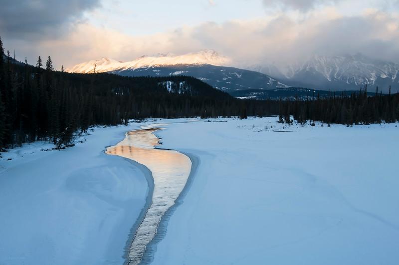 February 20, 2014<br /> <br /> Athabasca River<br /> Pyramid Mountain<br /> <br /> Jasper National Park, Alberta