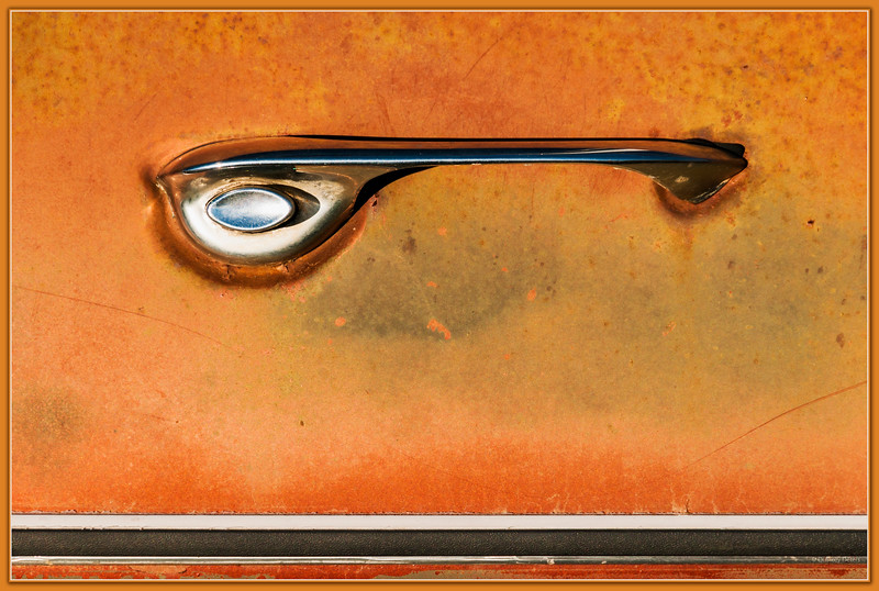 October 5, 2014<br /> <br /> Car Door<br /> <br /> Aldon Auto Salvage<br /> Lamont Alberta<br /> <br /> * Yesterday our camera club had an outing to a local auto salvage yard. This is one of my favorite annual events. Acres of autos, and rust!