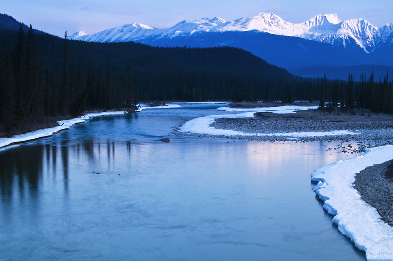 """March 31, 2011<br /> <br /> """"Jasper Morning""""<br /> <br /> Athabasca River<br /> Jasper National Park, Alberta<br /> <br /> * This image was take in April of 2009. I am very excited for spring but the truth is, we are still experiencing winter up here in Edmonton. On an up note, the sun is out today.<br /> I wish I was in Jasper :)"""