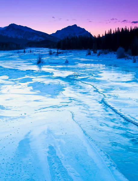 March 10, 2013<br /> <br /> Brisk Morning<br /> <br /> * I took this image back in December when I was in Jasper. It was a cold morning, probably about -26° C!!<br /> <br /> Athabasca River<br /> Jasper National Park, Alberta