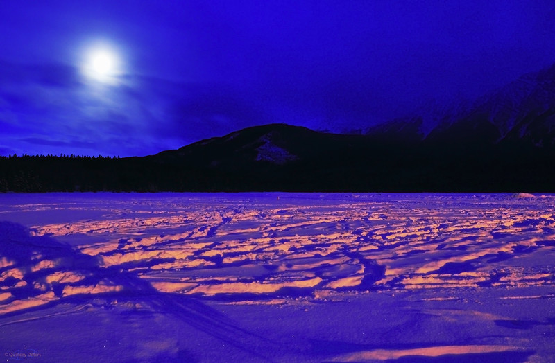 "March 15, 2011<br /> <br /> ""Full Moon Morning""<br /> <br /> Pyramid Lake/ Pyramid Mountain<br /> Jasper National Park, Alberta"