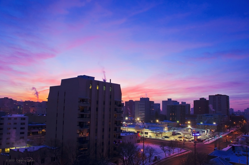 "Day Fifty-Five<br /> <br /> ""Christmas Morning Sunrise""<br /> <br /> The view from my perch<br /> Edmonton, Alberta"