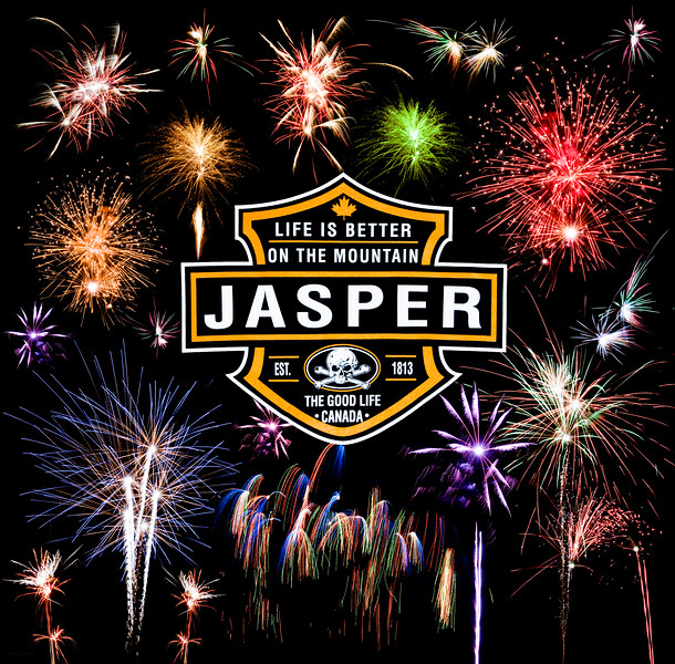 January 31, 2015  Life <i>is</i> Better on the Mountain  Jasper National Park, Alberta  J in J 2015 - One of the reasons I go to Jasper in January at the same time every year, is to see the amazing pyrotechnics show they put on to celebrate the event. This year was no exception - The town put on a great show! This is a collage of some of the fireworks, composited with a logo from a hoody we bought.   I hope you have enjoyed by images this month, showcasing my annual trips to Jasper in January.