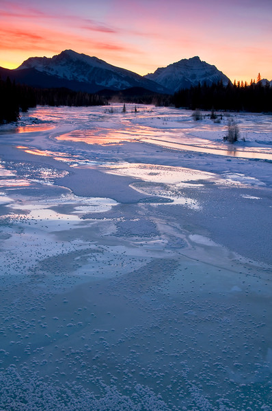 January 30, 2013<br /> <br /> Dawn of a New Day<br /> <br /> * A beautiful morning overlooking the Athabasca River. Mount Kerkeslin and Mount Fryatt in the distance.<br />  <br /> Athabasca River<br /> Jasper National Park, Alberta<br />  <br /> Jasper in January - Embrace winter!