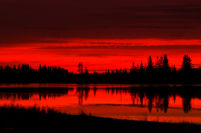 """October 18, 2011  """"Fire Lake""""  Astotin Lake Elk Island National Park, Alberta  * <i>What's In A Name?</i>~ For the month of October I am playing a <i>Name Game</i>. I am challenging myself to use a song title as the image title."""