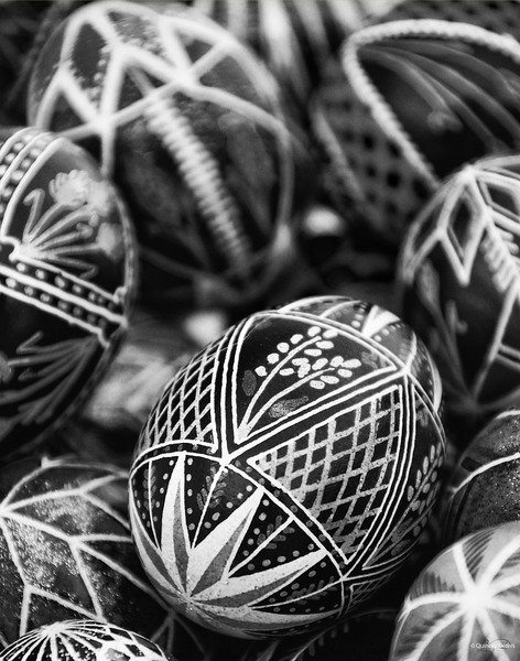 "March 28, 2014<br /> <br /> Pysankas<br /> <br /> * I entered this image of into our camera club competition last tonight. The theme was ""Heritage"". I placed 3rd in the B&W category!!!<br /> These are traditionally decorated Ukrainian Easter eggs, called Pysankas."