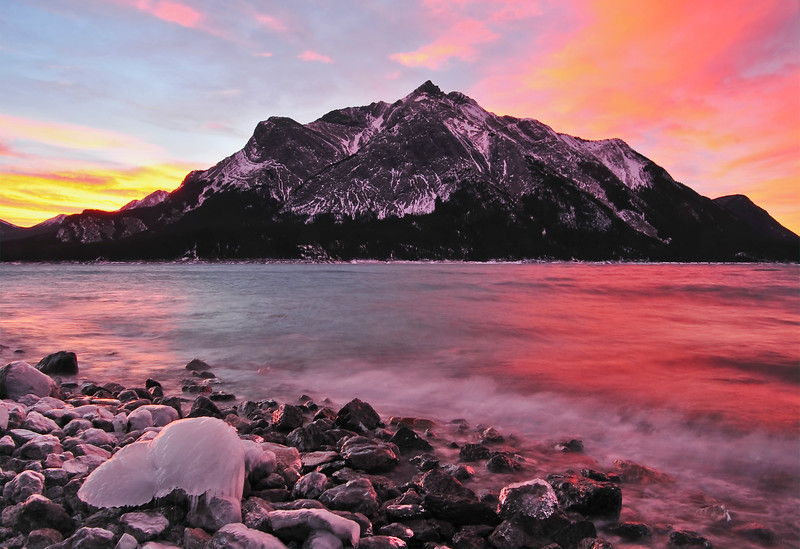 February 8, 2014  Amazing Sunrise  Lake Abraham Kootenay Plains, Alberta   * I took this on our trip to Nordegg in November. The sunrise on this particular morning was one of the most amazing sunrises I have ever seen!!