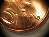 Macro: reversed EF 50mm f/1.8 II on G3, 2003 penny, obverse