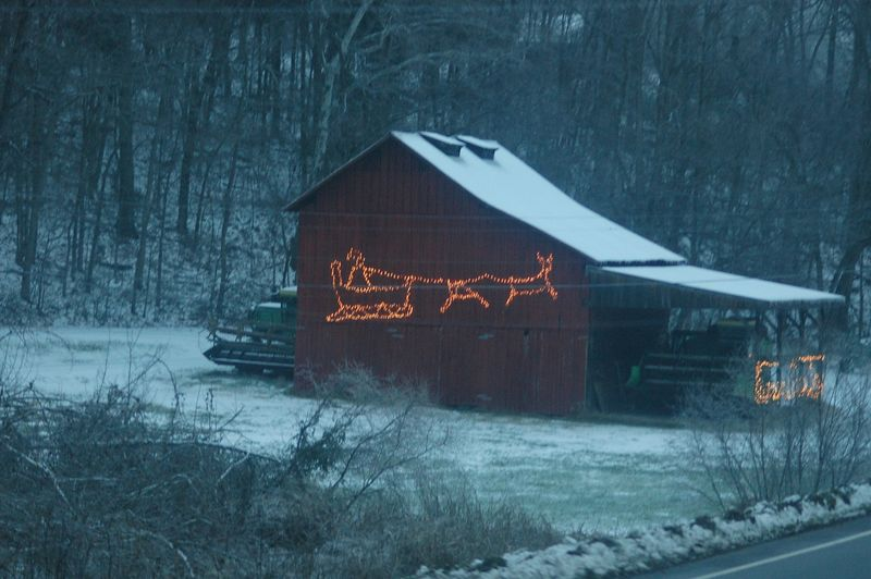 a barn decorated up on Hwy 49