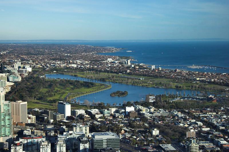 Albert Park Lake and the St Kilda Marina.