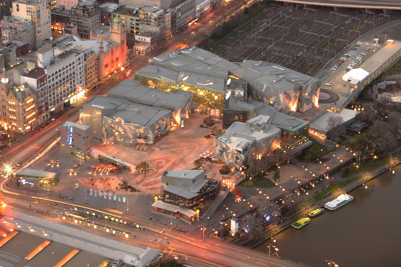 Federation Square built above the Jolimont railyards.