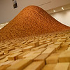 Modern art made from wooden blocks in de Young Museum of San Francisco