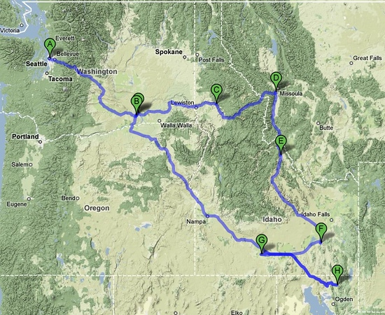 We took the long way to Idaho this time over Lolo pass and down through Salmon and Arco. We drove in 5 states in about 7 days, ending up in Logan UT for the wedding.