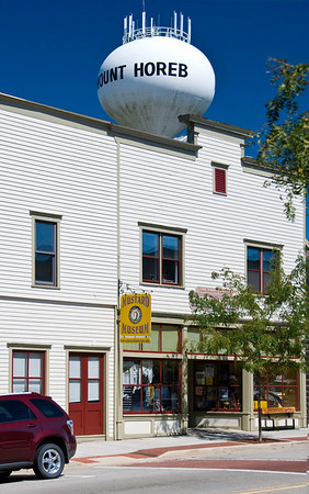 The Mustard Museum, Mount Horeb, Wisconsin. A sunny day, just after the Wright Stuff Century.