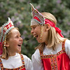 June 5, 2009<br /> Katrina and Anastasia in traditional Russian costumes.<br /> Girls had International Day at school and wore fancy folks dresses today. Katrina (left) fell at playground today and got big bruise on her forehead but this did not effect her spirit.