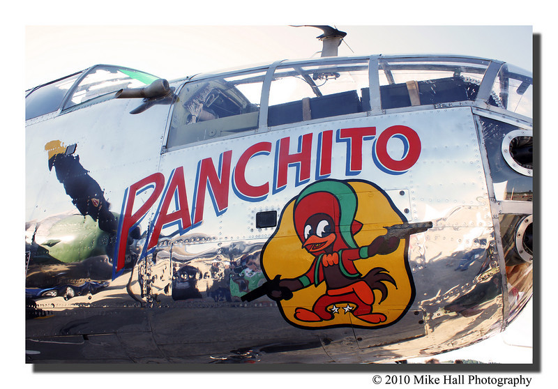 """Panchito""<br /> Great artwork on the fuselage of a B-25J bomber. Originally delivered to the USAAF on February 16, 1945 it is now operated by the Disabled American Verterans."