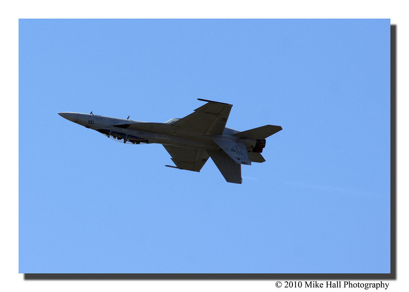 """F/A-18 Super Hornet""<br /> The US Navy's top-line aircraft does an inverted flyby."