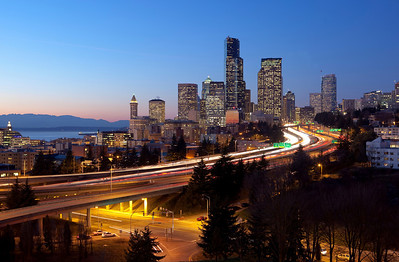 I-5 in Seattle at twilight