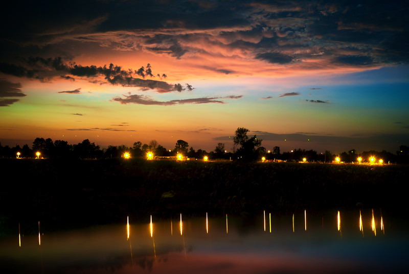 August, 2010<br /> <br /> A long exposure shows the deep colors left late in a Texas sunset.