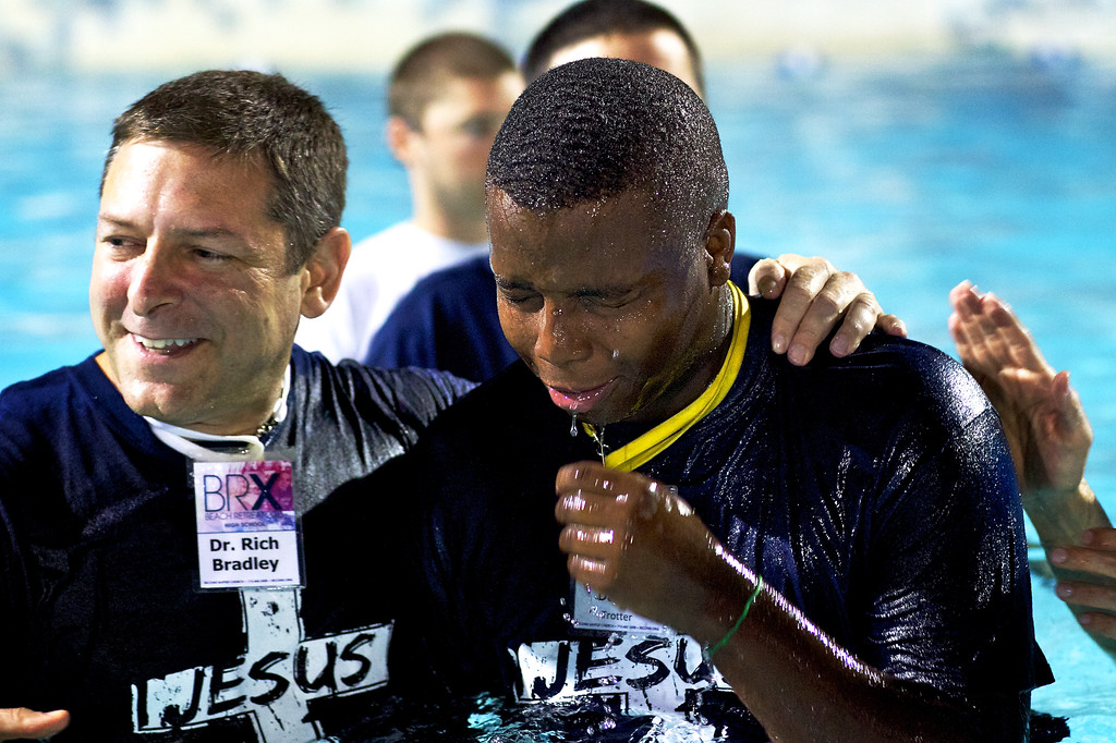 June, 2010<br /> <br /> A student getting baptized during Beach Retreat.