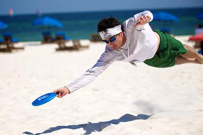 June, 2010  Counselor Tyler Newberry catches a Frisbee midair at Beach Retreat.